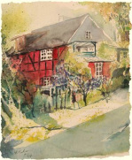 Rotes Fachwerkhaus